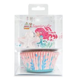 Set déco 24 caissettes + 24 cake toppers Sirène réf.FRA8717