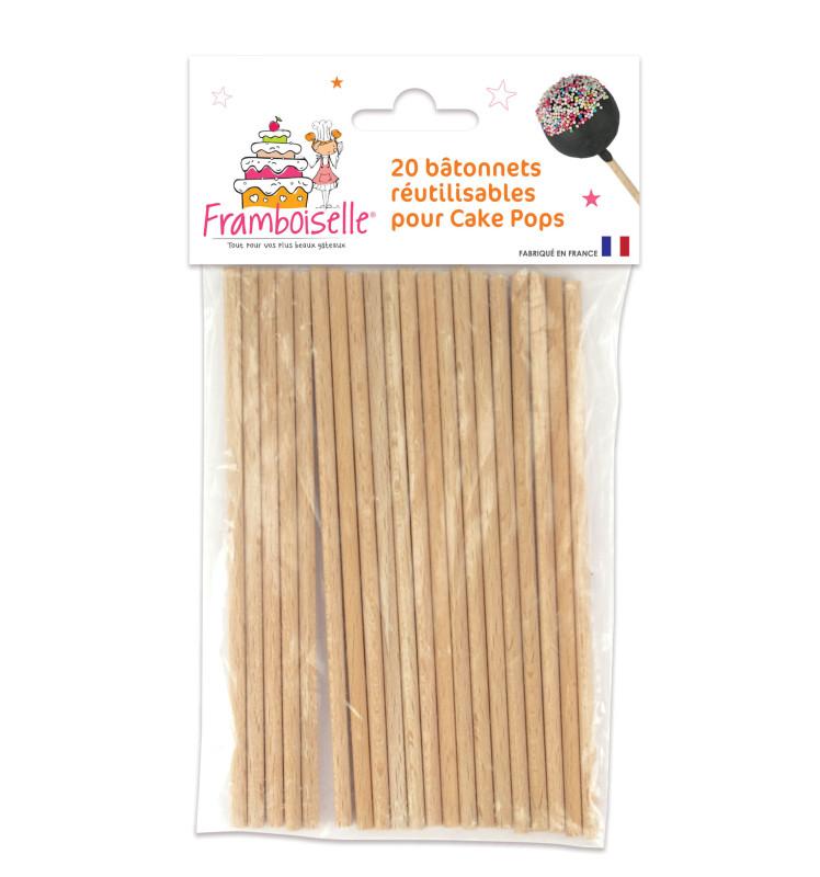20 bâtonnets en bois pour cake pops