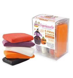 5 pâtes à sucre Halloween (orange, noir, blanc, rouge, violet) 400g