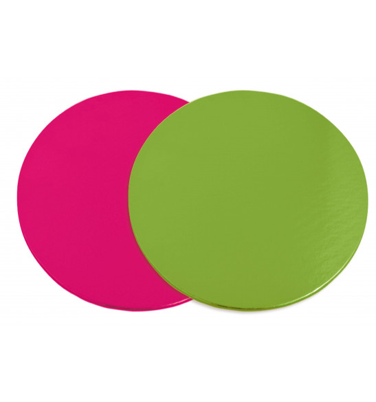 6 supports à gâteaux fins rose/vert 24 cm