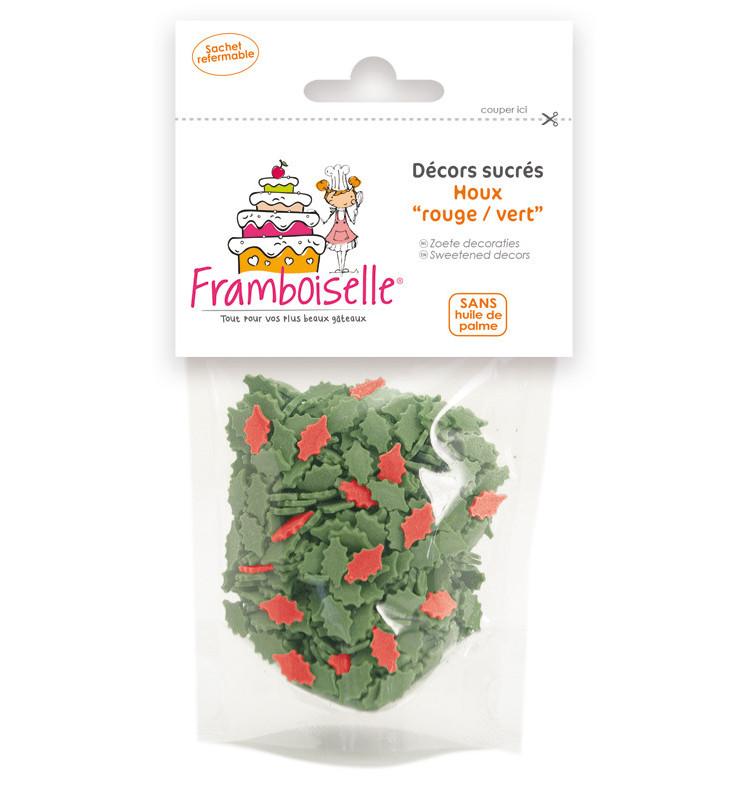 Sachet de décors sucrés Houx vert et rouge 40 gr