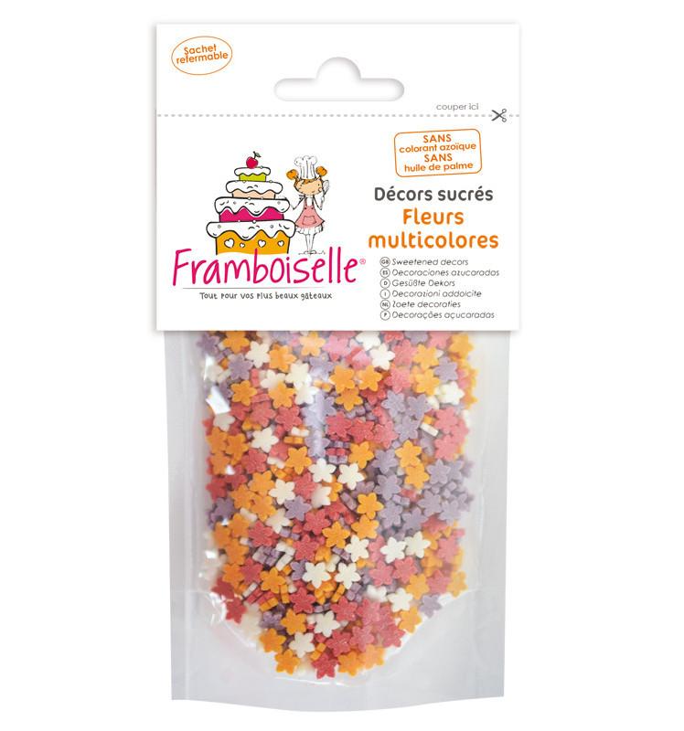 Sachet décors sucrés Fleurs multicolores 40 gr