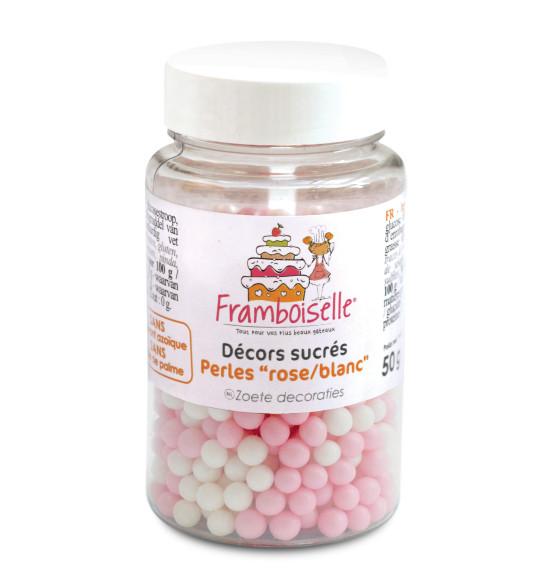 Pot décors sucrés perles rose/blanc 50g